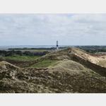 Blick von der Uwe Düne zum Kampener Leuchtturm