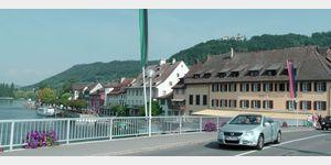 Stein am Rhein - Rheinbrücke mit Burg Hohenklingen