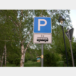 An der Einfahrt zum Platz gab es die Möglichkeit einen Aufkleber am Pfahl vom Parkplatzschild anzubringen.