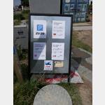 Meinwomo-Aufkleber am Stellplatzschild Klintholm Havn